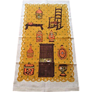 Linen Kitchen Towel Vintage 1970s Novelty Print Antiques Fall Colors Poland
