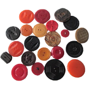 Fall Colors Bakelite Buttons Vintage 1940s Early Plastic Mixed Lot 21