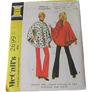 Poncho Bell Bottom Pants Sewing Pattern Vintage 1970s McCalls 2699