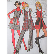 Groovy Vintage 1970s Clothing Sewing Pattern Mini Go Go Dress Vest Bell Bottoms Hot Pants Simplicity 5155