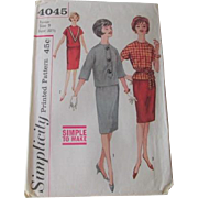 Vintage 1950s Womens Pencil Skirt Blouse Jacket Suit Sewing Pattern Simplicity 4041
