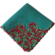 Vintage 1940s Handkerchief Tatting Lace Red Green Christmas Colors Linen