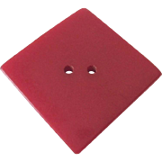 Large Square Red Bakelite Button Vintage 1940s Sewing