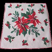 Christmas Poinsettia Handkerchief Vintage 1950s Rice Linen Holiday Hanky Hankie