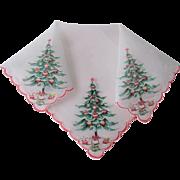 Christmas Tree Handkerchief Vintage 1950s Silkscreened Stars Polka Dots Presents Hanky Hankie