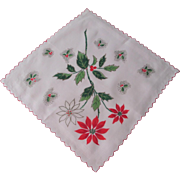 Poinsettia Christmas Handkerchief Vintage 1950s Holiday Hanky Hankie