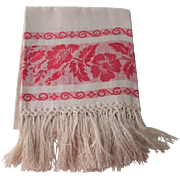 Antique Linen Damask Show Towel Late 1800s Hand Knotted Fringe Turkey Red Banded Borders