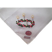 Embroidered Christmas Handkerchief Vintage 1950s Daytons Cotton Switzerland Wreath Candles New With Tags