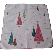 Mid Century Modern Handkerchief Vintage 1950s Christmas Trees Pink Turquoise MCM Cotton