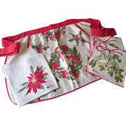Vera Neumann Christmas Kitchen Apron Napkins Vintage 1960s Ladybug Holiday Linens