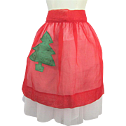 Vintage 1950s Christmas Tree Kitchen Apron Sheer Nylon Rockabilly Swing Cocktail Hostess Holiday Party