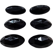 Lot 6 Black Jet Glass Victorian Faceted Buttons Large Oval Size