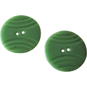 Carved Green Bakelite Buttons Vintage 1940s Art Deco Sewing Pair
