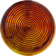 Amber Bakelite Coat Button Vintage 1940s Deeply Carved Large Early Plastic Prystal
