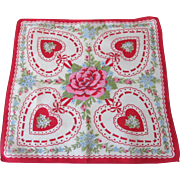 Valentines Day Handkerchief:Vintage 1940s Rose Hearts Flowers Hanky Hankie