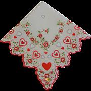 Vintage 1950s Valentine Hearts Hanky Hankie Dead Stock NWT