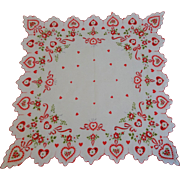 Vintage 1950s Fancy Hearts Flowers Valentines Day Hanky Hankie