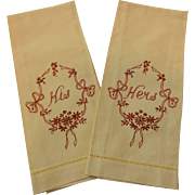 His Hers Embroidery Guest Towels Vintage 1940s Buttercup Yellow Floral Wreath Wedding Gift