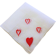 Vintage 1950s Valentine Hearts Hanky Hankie