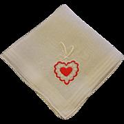 Vintage 1950s Embroidered Heart Hanky Hankie