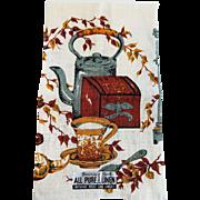 Vintage 1950s Screen Printed Linen Kitchen Towel Parisian Prints Teapot Tea Teacup NWT