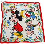 Walt Disney Productions Mickey Mouse Music Hankie Hanky Vintage 1940s Child Size