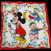Walt Disney Productions Mickey Mouse Music Hankie Hanky Vintage 1940s Child Size