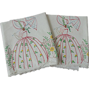 Vintage 1950s Hand Painted Pillowcases Set Pair Sunbonnet Sue Parasol Garden Cotton