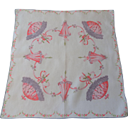 Parasol Hanky Hankie Vintage 1950s Cotton Ribbon Flowers