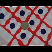 Mod Vintage 1970s Red White Blue Sheer Nylon Polyester Fabric Yardage