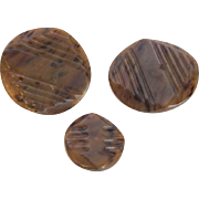 Art Deco Carved Bakelite Buttons Vintage 1940s Large Small Set of Three Sewing