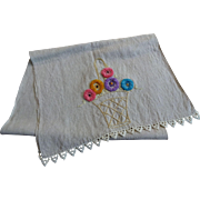 Vintage 1930s Linen Flower Basket Punch Work Dresser Scarf Table Runner Embroidery