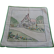 Vintage 1930s Embroidery Pillowcase Pillow Top Cover Cottage House Flower Garden Cottage Chic