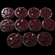 Carved Bakelite Buttons Deep Red Vintage 1940s Set 11