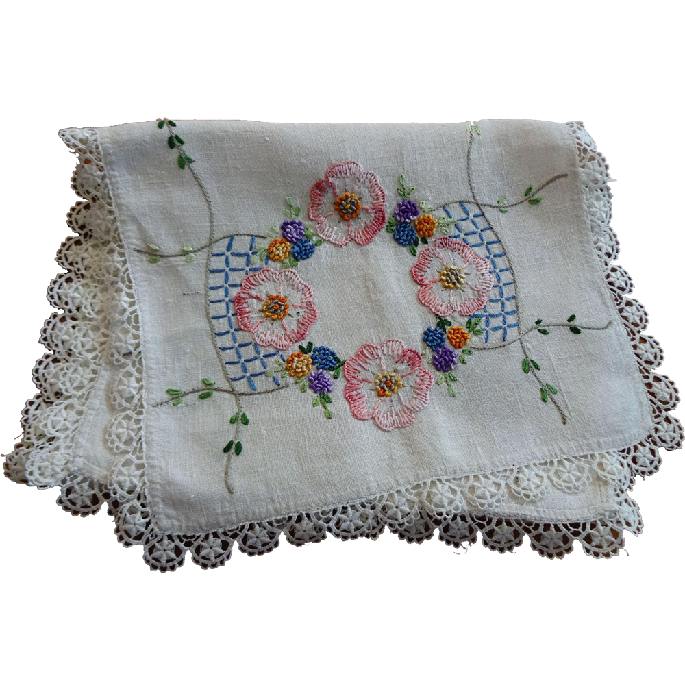 Vintage 1930s Embroidery Dresser Scarf Table Runner Flowers French Knots Vines