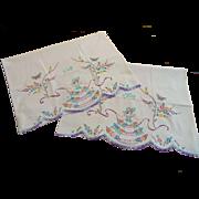 Vintage 1950s Mr Mrs Hand Painted Pillowcases Wedding Anniversary Cotton Sunbonnet Sue Daisies Lace Trim