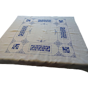 Tea Topper Square Tablecloth Vintage 1930s Blue White Micro Cross Stitch Linen Embroidery