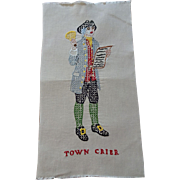 Colonial America Pilgrim Town Crier Cross Stitch Embroidery Linen