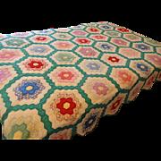 Feedsack Quilt Vintage 1930s Grandmothers Flower Garden Hand Pieced Stitched Hexagons