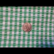Vintage 1930s Green White Cotton Seersucker Fabric Yardage