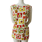 Kitchen Apron Tunic Smock Pinafore Vintage 1970s Cotton Rooster Fruit Teapot