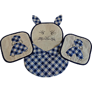 Vintage 1930s Gingham Bunny Rabbit Potholder Set Embroidery