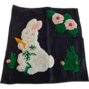 Easter Bunny Rabbit Punch Work Pillowcase Vintage 1930s Flowers Black Satin Home Decor