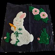 Easter Bunny Rabbit Punch Work Pillowcase Vintage 1930s Flowers Black Satin Home Decor