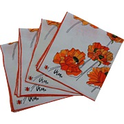 Orange Poppy Napkins Vintage 1960s Vera Neumann Ladybug Set of 4