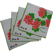 Vintage 1960s Vera Neumann Geraniums Ladybug Napkins Set of 4