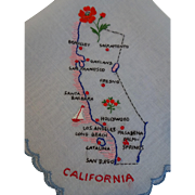 California State Hankie Hanky Vintage 1940s Souvenir Embroidery Switzerland New With Tag