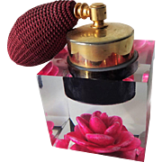 Reverse Carved Lucite Perfume Atomizer Vintage 1960s Fuschia Rose Jane Art Vanity