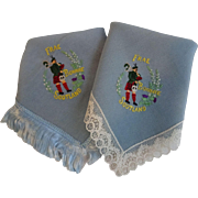 Frae Bonnie Scotland Hanky Hankies Vintage 1940s WWII Era Souvenir Lot 2 Lace Fringe Embroidery Bagpipes