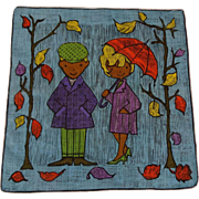 Novelty Hanky Hankie Handkerchief Vintage 1960s Dessin Despose Couple Leaves Umbrella Hand Rolled